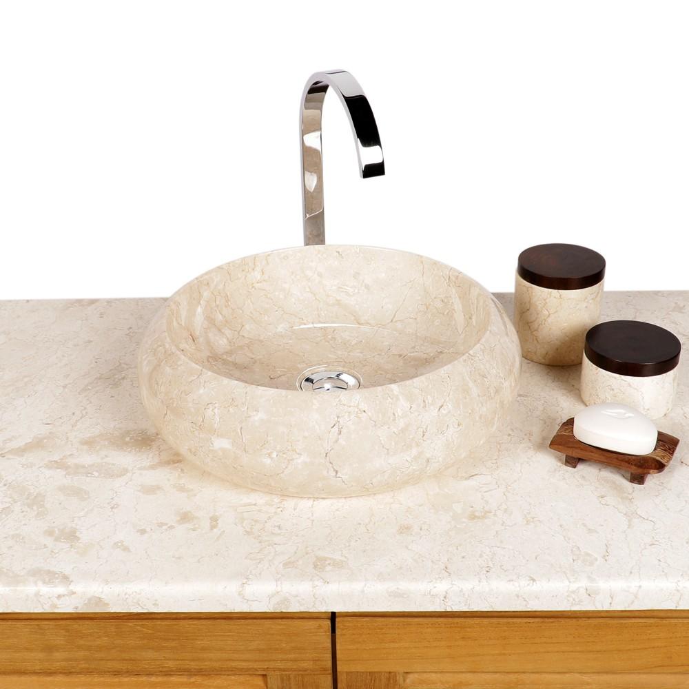 waschbecken waschtisch marmor aufsatz sanit r bad stein wc rund 40 cm creme ebay. Black Bedroom Furniture Sets. Home Design Ideas