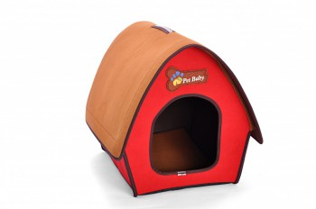 indoor hundeh tte hundehaus katzenh hle haus f r wohnung oval rot 54x48x45cm. Black Bedroom Furniture Sets. Home Design Ideas