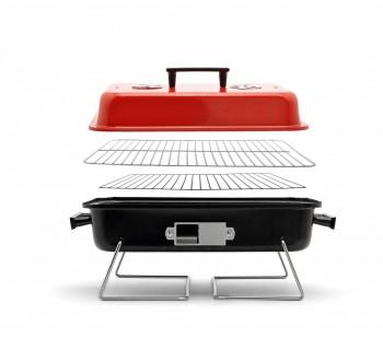 taschen grill minigrill tragbar mit abnehmbarer haube rot schwarz b48xh28xt28 cm ebay. Black Bedroom Furniture Sets. Home Design Ideas