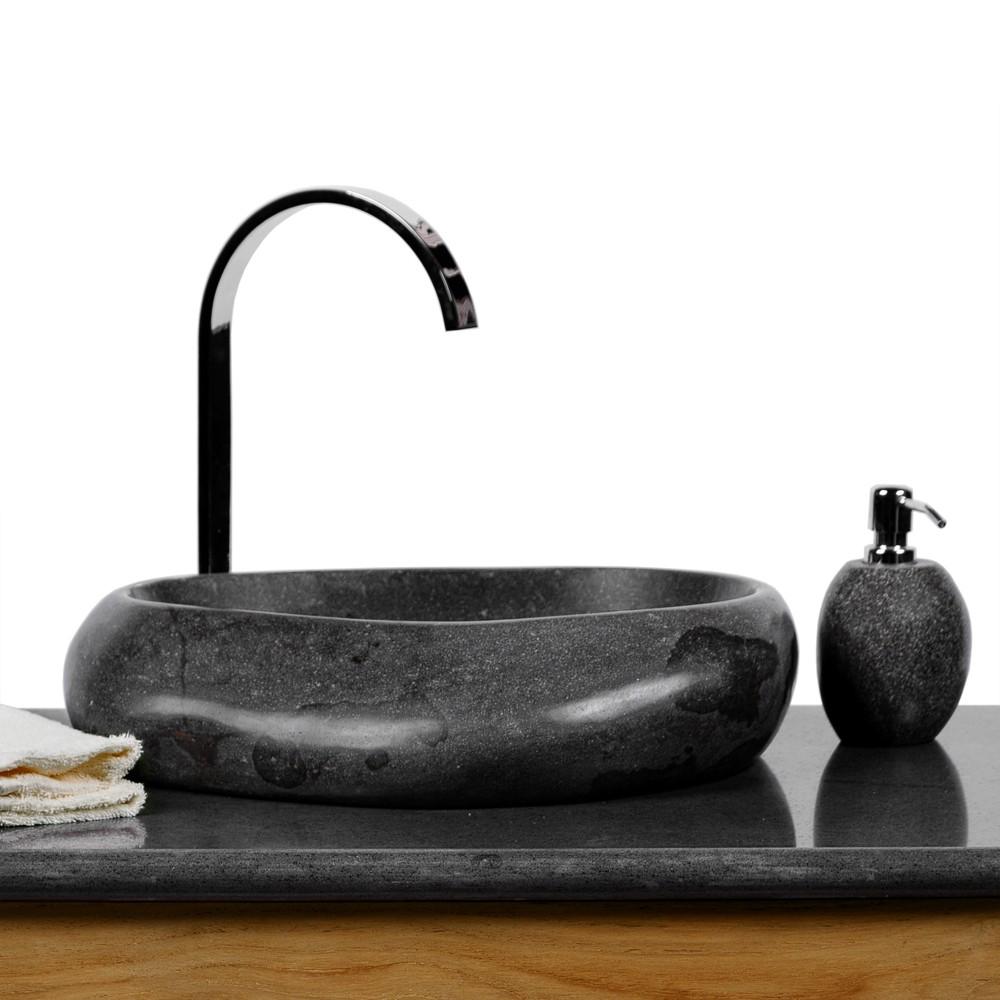 wave naturstein waschbecken 40 cm poliert waschschale. Black Bedroom Furniture Sets. Home Design Ideas
