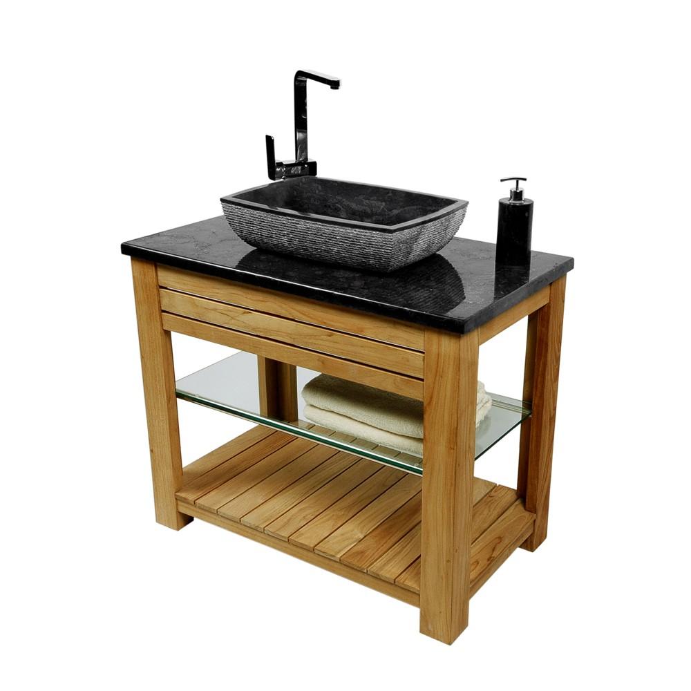 naturstein marmor waschbecken mara waschschale rechteckig schwarz 50x35cm ebay. Black Bedroom Furniture Sets. Home Design Ideas