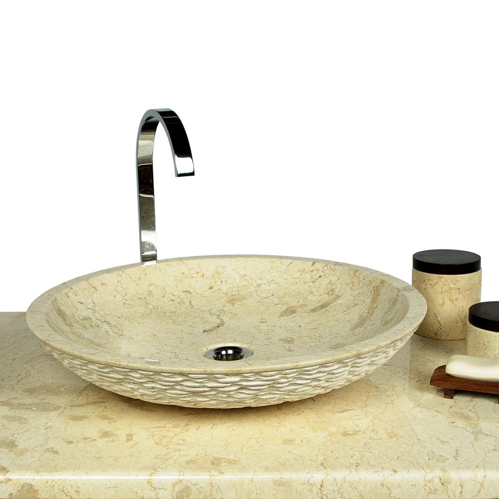 marmor waschbecken lemper rund innen poliert 50 cm creme ebay. Black Bedroom Furniture Sets. Home Design Ideas
