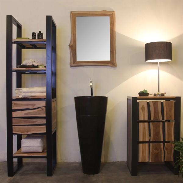 marmor waschtisch s ule schwarz bad standwaschbecken rund waschbecken 40 90cm ebay. Black Bedroom Furniture Sets. Home Design Ideas