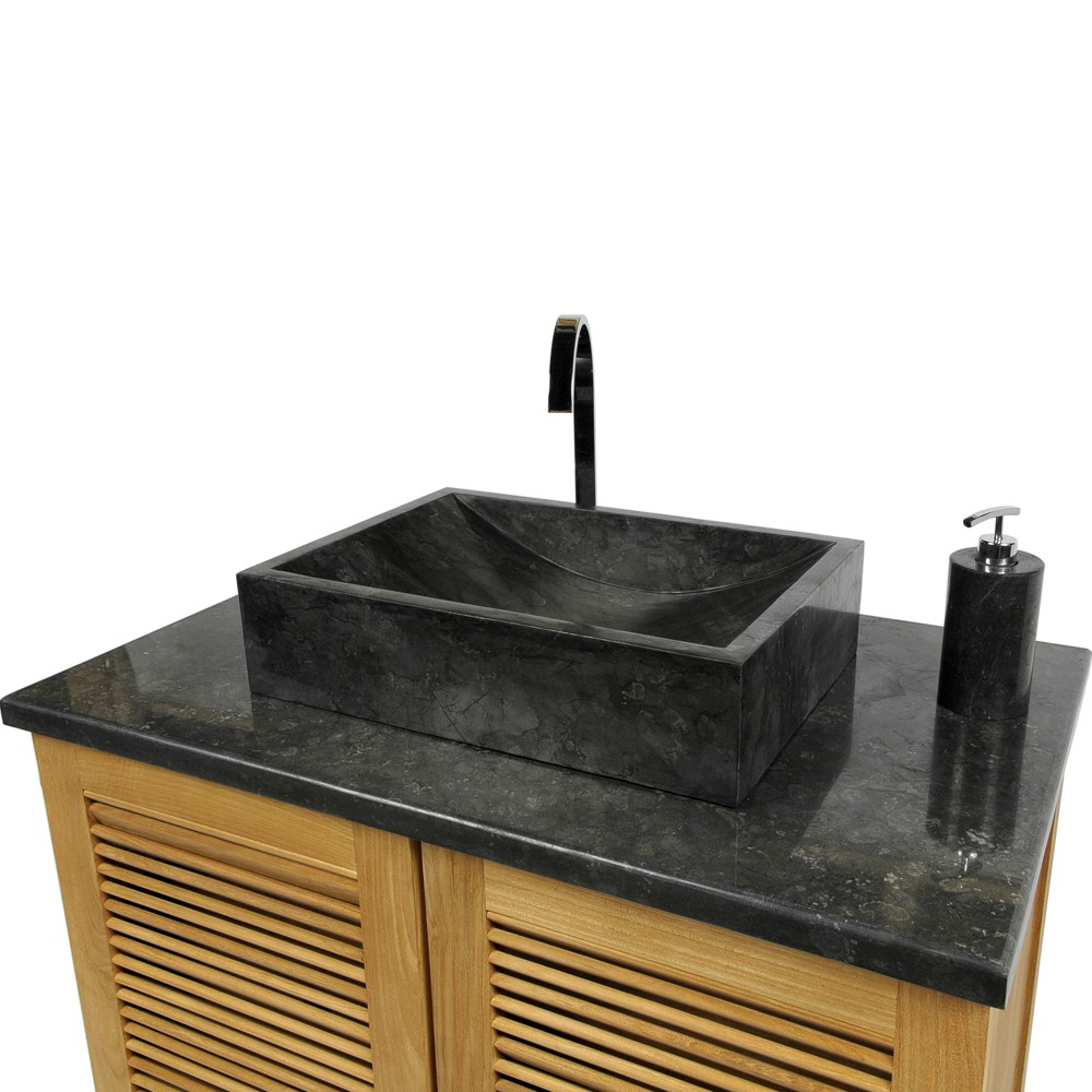 Marmor waschbecken perahu schwarz 50 cm - Waschbecken schwarz ...