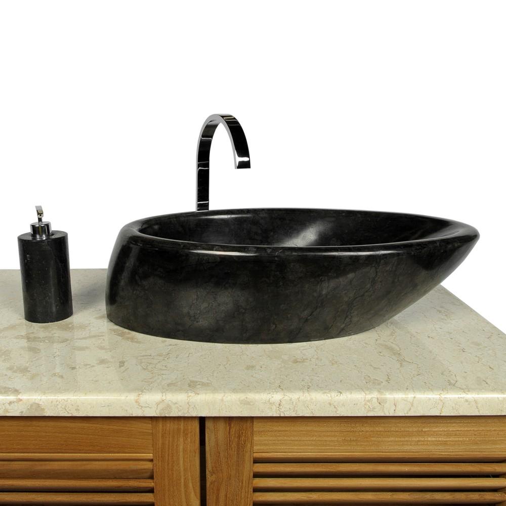 naturstein marmor waschbecken waschschale waschtisch net tropfen schwarz 60 cm ebay. Black Bedroom Furniture Sets. Home Design Ideas